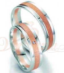 Βέρες γάμου δίχρωμες με διαμάντι Breuning 7053-7054