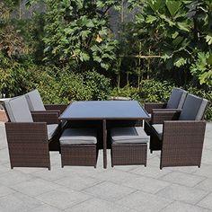 MAGIC UNION 9 Piece Outdoor Rattan Dining Set All Weather Wicker Patio Lawn  Garden Furniture MAGIC