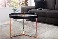 wohnling design beistelltisch schwarz kupfer 40 cm tabletttisch holz metall. Black Bedroom Furniture Sets. Home Design Ideas