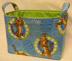 Tigger Bin - Winnie The Pooh - Blue - Storage Bin - Organizers - Clutter Keepers - Nursery Organizer - Diaper Keeper - Children's Storage. $18.00, via Etsy.