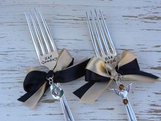 Wedding serving forks - Her Cowboy His Angel - hand stamped - silver plated - antique or vintage - dinner forks - cowboy hat and wing heart