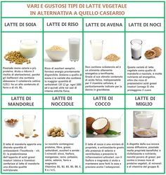Tipi di latte vegetale.