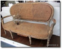Deconstructed antique French settee- Seen On Labrocanteuse Blog