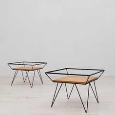 Rare vintage Cane and Metal side tables designed by Martin Eisler. Available at ESPASSO.