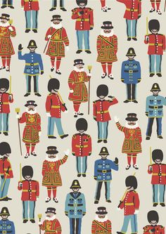 Guards & Friends | A fun, graphic new addition to our family of London prints. We've designed lots of friends for our iconic Guards – in fact there are more than 80 individual policemen, Beefeaters and guards within each section of the print – to create this colourful instant classic | Cath Kidston SS16 |