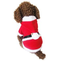 NACOCO Pet Christmas Costumes Dog Santa Claus Suit Dog Warm Hoodies Puppy Cat Xmas Apparel Winter -- Discover this special cat product, click the image : Christmas Presents for Cats