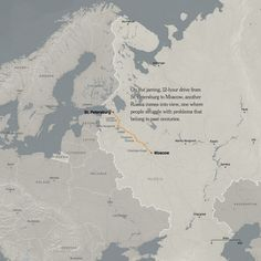 "Great images about the portion of Russia between St. Petersburg and Moscow - a high speed train travels this route.  The NYT shows the ""slow life"" between.  - John, TGC Russia '14"
