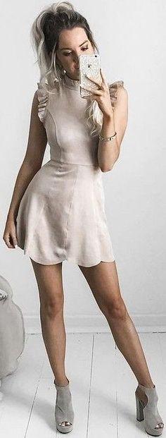 #summer #feminine #outfits | Nude Little Dress