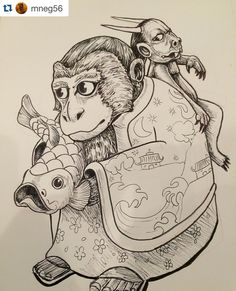 This is awesome Thanks for sharing! @mneg56 !! Thank you for including my monkey teapot in your collection of inktober2015 great work! by joeychiarello
