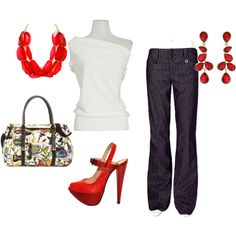white with red accessories Outfit Night Outfits, Outfits For Teens, Cute Outfits, Fashion Outfits, Womens Fashion, Outfit Night, Church Outfits, Outfit Summer, Cool Style