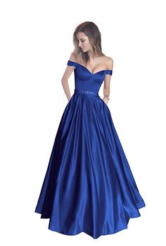 Gold Satin V Neck Long Prom Dresses Ball Gowns Off The Shoulder