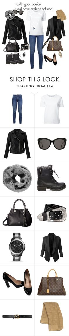 """""""#basics"""" by bprtakpachner ❤ liked on Polyvore featuring s.Oliver, Lemaire, Miss Selfridge, Gentle Monster, Boohoo, Steve Madden, Vince Camuto, FOSSIL, Jupe de Abby and Miu Miu"""