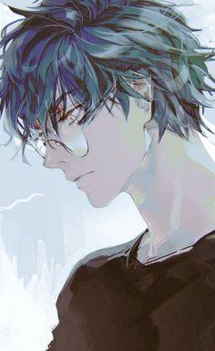 Blue Hair Anime Boy, Dark Anime Guys, Cool Anime Guys, Handsome Anime Guys, Cute Anime Boy, Anime Boys, Fanarts Anime, Anime Characters, Character Inspiration