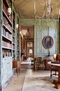French Country House, French Farmhouse, French Country Decorating, French Chateau Decor, French Home Decor, Veranda Magazine, Home Library Design, Design Desk, Home Libraries