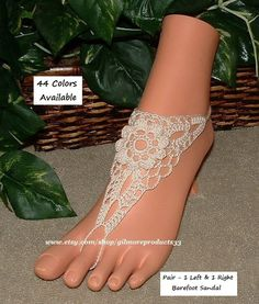 Elegant Barefoot Sandals Toe Anklets Crochet by gilmoreproducts33