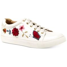 Nanette by Nanette Lepore Wildflower Embroidered Lace-Up Sneakers ($41) ❤ liked on Polyvore featuring shoes, sneakers, white, lace up shoes, white trainers, laced shoes, laced sneakers and lacing sneakers