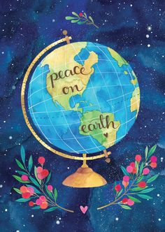 Ana Victoria Calderon (Save the Earth Art and Quotes) Peace On Earth, World Peace, Illustrations, Illustration Art, Watercolor Design, American Artists, Mother Earth, Cute Wallpapers, Peace And Love