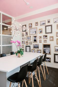 Modern mural wall office huddle: http://www.stylemepretty.com/living/2016/09/26/never-underestimate-the-power-of-a-pink-ceiling/ Photography; Mike Cassimatis - http://mnc-photography.com/