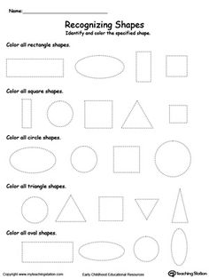 Recognizing Shapes: Encourage practicing shape recognition or teach your child about the different kinds of shapes with this tracing shape activity worksheet.