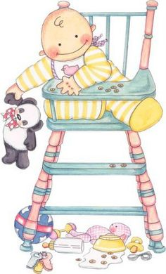 Baby in high chair Clipart Baby, Cute Clipart, Baby Images, Baby Pictures, Cute Pictures, Dibujos Baby Shower, Scrapbook Bebe, Baby Art, Digi Stamps