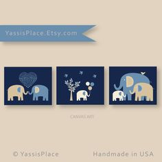 Baby Boy CANVAS Art Elephant Family Navy Tan nursery decor Kids Wall Art Set of 3 by YassisPlace Pin now to view later