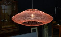 """Dutch company Atelier Robotiq experiments with fibers and robotic weaving techniques to make lightweight structures with geometrical weave patterns. """"The Fiber Pattern Lamp series… Light Art Installation, Lamp, Lighting Design, Light Art, Dutch Design, Atelier, Light, Suspension Lamp, Lighting Trends"""
