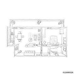 2d interior freehand sketch drawing plan view of furnished home apartment