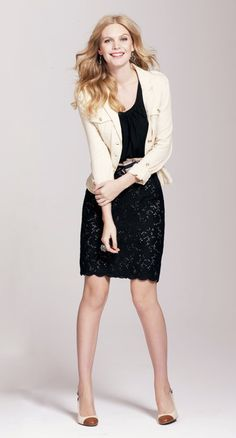 Basic V neck tee and Vintage Eyelet Skirt with a Cotton Herringbone Four Pocket Jacket -  all available at www.loft.com