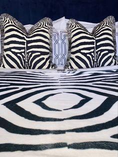 Zebra Print Velvet Cushion Pillow Animal Print Black and White Fringe
