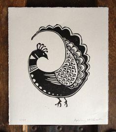 Little Bird original linocut print.  4.5 x 5.5