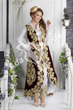 Folk Fashion, Fashion Wear, Hijab Fashion, Fashion Beauty, Fashion Outfits, Afghan Wedding Dress, Moda Outfits, Moroccan Dress, Bridal And Formal