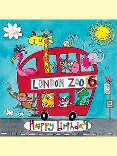JIG33 Happy Birthday - London Zoo Bus - Jigsaw Cards - Rachel Ellen Designs – Card and Stationery Designers and Publishers