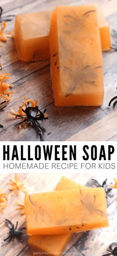 Get the kids making Halloween soap with this easy melt and pour homemade soap recipe. Just a little bit spooky and heaps of fun! Halloween Activities For Kids, Creative Activities For Kids, Diy For Kids, Creative Kids, Homemade Halloween, Halloween Party, Halloween Kids, Halloween Crafts, Clear Glycerin Soap