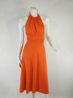 70s Lorrie Deb Orange Halter Dress