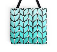 Stockinette Knitting Stitch Turquoise Gradient Tote Bag