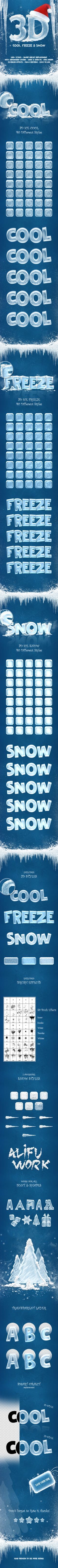 New 3D Ice Cool, Freeze & Snow Text Effects - Text Effects Styles
