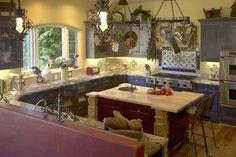 Pot racks and lights! Hacienda Kitchen, Spanish Kitchen, Mexican Kitchens, Eclectic Kitchen, Hacienda Style, Modern Country, Dream Decor, Home Kitchens, Kitchen Design