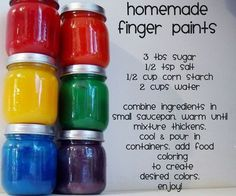Home made finger paint, sidewalk chalk, bath crayons, mixed crayons and many other recipe for the DIY family.