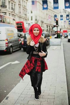 Hijab, cute jacket, and I'm pretty sure the skirt is black leopard