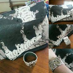 Clutch couro y brazaletes piezas unicas
