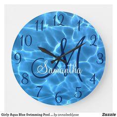 Girly Aqua Blue Swimming Pool Photo Monogram Large Clock Swimming Pool Photos, Swimming Pools, Large Clock, Monogram Gifts, Christmas Card Holders, Aqua Blue, Keep It Cleaner, Girly, Prints