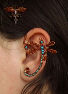 Custom made dragonfly earcuffs by RockTime on Etsy, $30.00