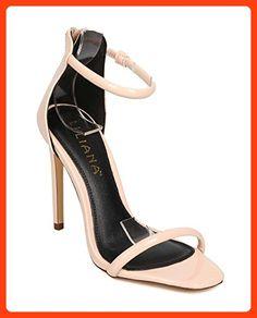 99cd0eefc06f Liliana EB86 Women Patent Open Toe Minimal Stiletto Single Sole Sandal -  Nude (Size
