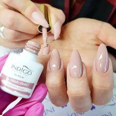 New Nails Natural Beige Shades Ideas French Manicure Acrylic Nails, Almond Acrylic Nails, Almond Shape Nails, Gel Manicure, Natural Almond Nails, Teal Nails, Indigo Nails, Brown Nails, White Nails