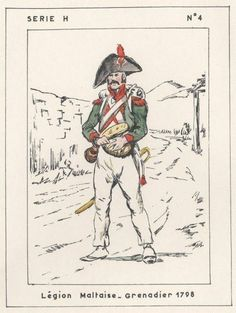 Grenadier of the 'Legion Maltaise': a battalion-sized unit of 400 Maltese conscripts who were drafted into the French Army before departing for Egypt.  Alongside the Grenadiers, the Legion Maltaise also had its own Fusilier and Chasseur (Light Infantry) companies, with slightly different facings and plumage.