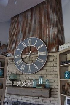 Repurposed- Using An Old Barn Tin Roof And Barn Wood For A Fireplace Makeover