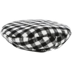KTZ Tartan beret ($72) ❤ liked on Polyvore featuring accessories, hats, plaid hat, tartan hat, white and black hat, embroidery hats and embroidered hats