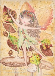 Autumn Fairy original watercolor painting. Fall by MartaDalloul