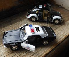 Kinsmart Police Cars: VW Beetle and Chevy Camaro