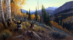 """These mule deer, blend in with all of the fall colors, stand in the valley with the mountains at their back. This print is an artist proof and is available unframed in size 27""""x15"""""""